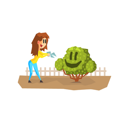 Young Woman Shearing Cute Funny Hedge Character, Girl Working in Garden or Farm Vector Illustration on White Background.