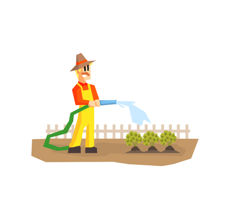Man Watering Plants with Hose, Farmer Working in Garden or Farm Vector Illustration on White Background.