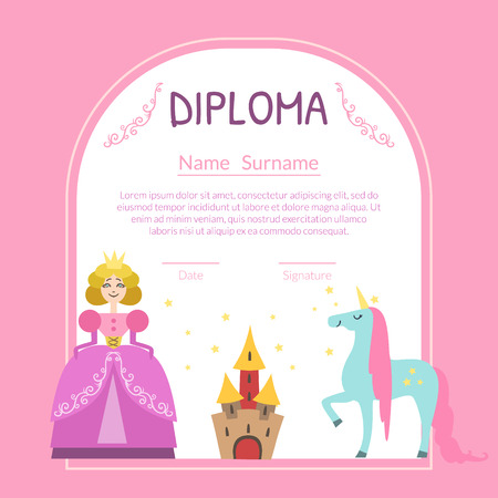 Cute Diploma Template for Girls with Place For Your Text, Preschool, Kindergarten Children Certificate with Princess, Castle and Unicorn Vector Illustration Foto de archivo - 121389615