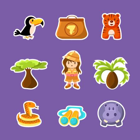 African Animals, Plants, Girl in Safari Outfit Cute Stickers, Safari Symbols Vector Illustration on Purple Background.