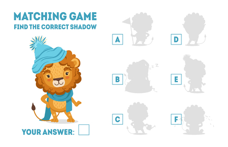 Jeu d'association avec un lion mignon portant un chapeau et une écharpe tricotés, trouvez le bon jeu éducatif d'ombre pour les enfants Illustration vectorielle Vecteurs