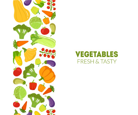 Vegetables Fresh and Tasty Banner Template, Design Element Can Be Used for Grocery Shop Label, Cafe Menu, Food Packaging Vector Illustration on White Background.