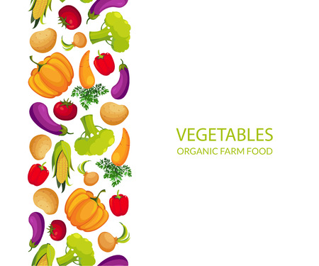 Vegetables Organic Farm Food Banner Template, Design Element Can Be Used for Grocery Shop Label, Cafe Menu, Food Packaging Vector Illustration on White Background. Illustration