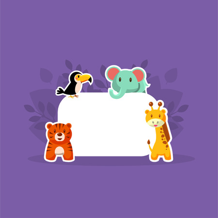 Cute Animals Showing Empty Banner, Toucan, Elephant, Tiger, Giraffe Stickers with White Blank Signboard Vector Illustration, Web Design