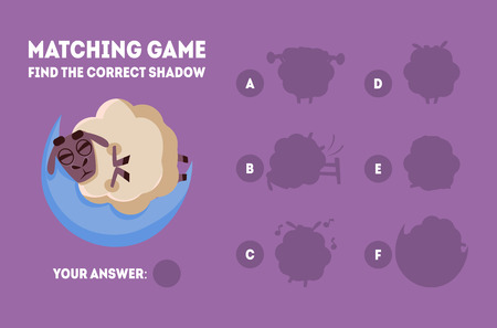 Matching Game with Cute Sleeping Sheep, Find the Correct Shadow Educational Game for Kids Vector Illustration on Purple Background.