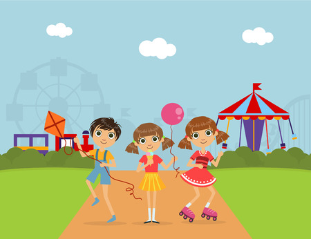 Cute Children at Amusement Park, Summer Landscape with Carousels and Ferris Wheel Vector Illustration