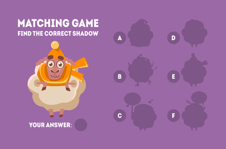 Matching Game with Cute Sheep, Find the Correct Shadow Educational Game for Kids Vector Illustration on Purple Background.