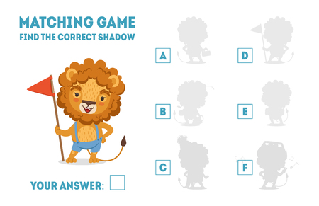 Matching Game with Cute Lion with Flag, Find the Correct Shadow Educational Game for Kids Vector Illustration Illustration