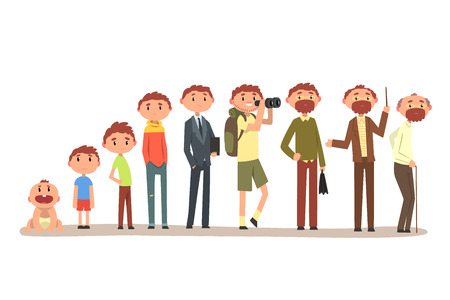 Growing up of a man from infant to grandfather, cycle of life vector Illustration isolated on a white background. 일러스트