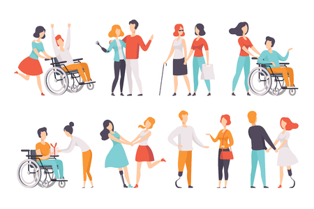 Disabled people having a good time with their friends set, handicapped person enjoying full life vector Illustrations isolated on a white background.