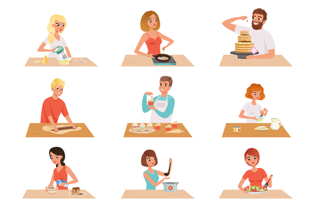 Young man and woman cooking set, people in casual clothing preparing healthy meal in kitchen vector Illustrations isolated on a white background.