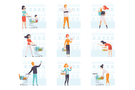 People choosing products, pushing carts at grocery store set, man and woman shopping at supermarket vector Illustration isolated on a white background.