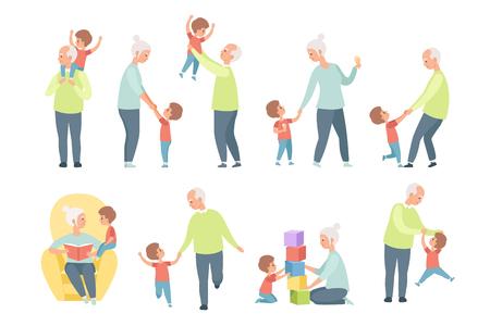 El abuelo y la abuela jugando, caminando y divirtiéndose con su nieto establecen ilustraciones vectoriales aisladas sobre fondo blanco.