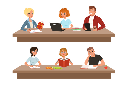 Academic students in learning process set, young people reading books and studying hard before the exam vector Illustrations isolated on a white background. Çizim