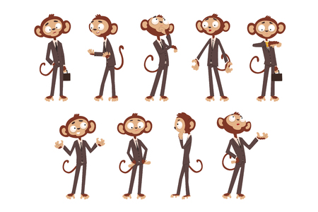 Monkey businessman cartoon character dressed in human suit, funny animal in different poses vector Illustration on a white background