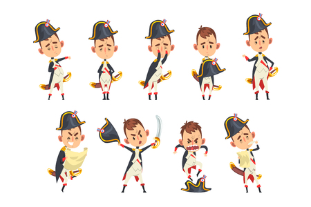 Napoleon Bonaparte cartoon character, French historical figure in different situations vector Illustration isolated on a white background.