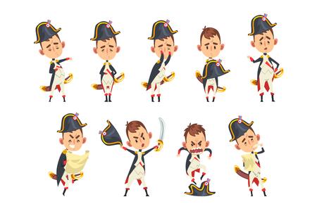 Personaje de dibujos animados de Napoleón Bonaparte, figura histórica francesa en diferentes situaciones vector ilustración aislada sobre fondo blanco.