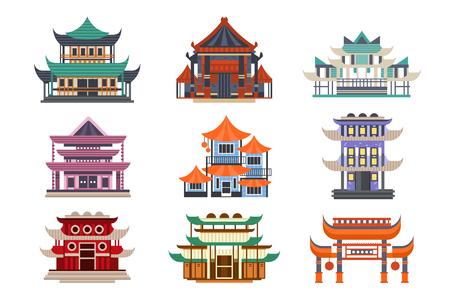 Conjunto de edificios de pagoda tradicional, objetos de arquitectura asiática ilustraciones vectoriales sobre un fondo blanco.