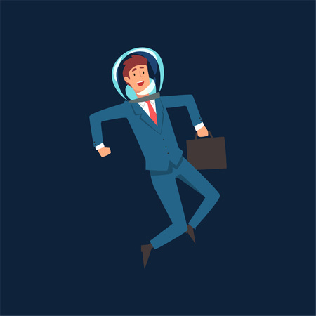 Ambitious Businessman in Blue Suit and Astronaut Helmet Flying in Outer Space with Briefcase, Business Development Strategy, Leadership Vector Illustration Illustration