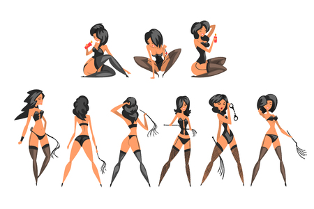 Pretty BDSM mistress set, beautiful woman in latex dress vector Illustrations on a white background