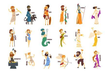 Greek Gods set, Dionysus, Hermes, Hephaestus,Zeus, Hades, Poseidon, Aphrodite, Artemis ancient Greece mythology characters character vector Illustrations 일러스트