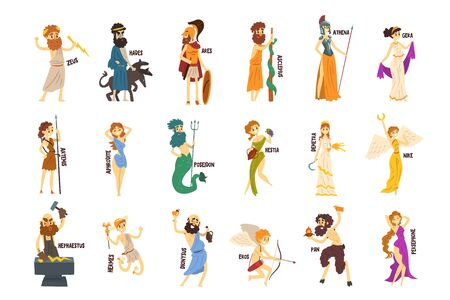 Greek Gods set, Dionysus, Hermes, Hephaestus,Zeus, Hades, Poseidon, Aphrodite, Artemis ancient Greece mythology characters character vector Illustrations Vectores