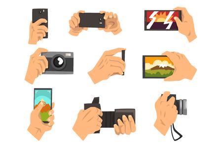Ręczne robienie zdjęć z smartphone i aparat zestaw ilustracji wektorowych na białym tle. Ilustracje wektorowe