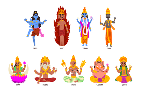 Indian Gods set, Shiva, Igny, Vishnu, Ganesha, Indra, Soma, Brahma, Surya, Yama god cartoon characters vector Illustrations on a white background Illusztráció