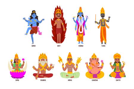 Indiase goden ingesteld, Shiva, Igny, Vishnu, Ganesha, Indra, Soma, Brahma, Surya, Yama god stripfiguren vector illustraties op een witte achtergrond