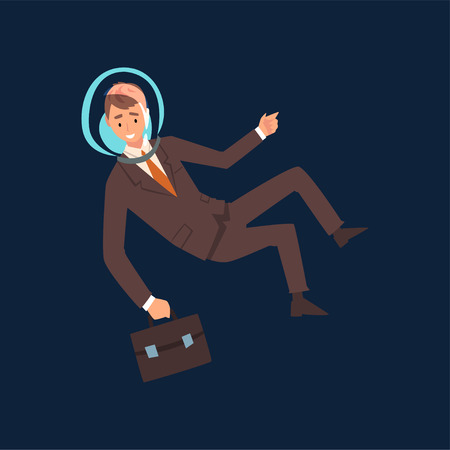 Successful Businessman in Brown Suit and Astronaut Helmet Flying in Outer Space with Briefcase, Business Development Strategy, Leadership Vector Illustration
