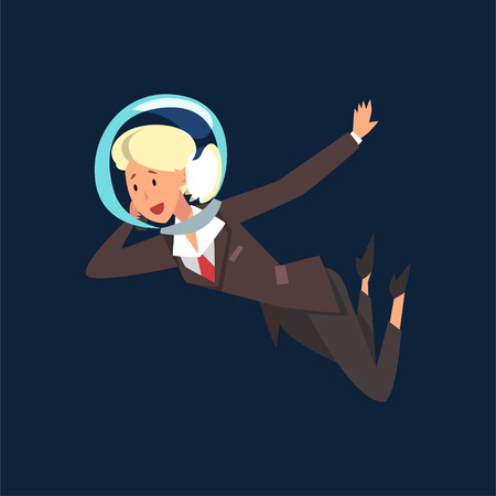 Blonde Businesswoman in Astronaut Helmet Flying in Outer Space, Business Development Strategy, Leadership Vector Illustration