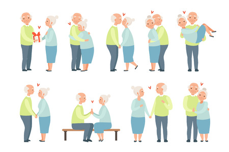 Senior man and woman having a good time together set, elderly romantic couple in love vector Illustrations isolated on a white background.