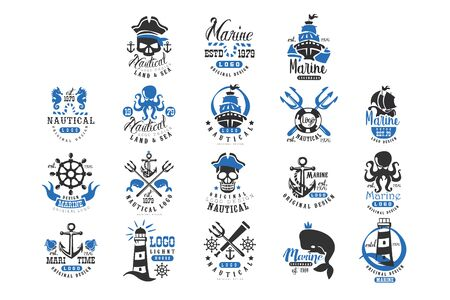 Nautical original design set, retro badges for nautical school, sport club, business identity, print products vector Illustration on a white background