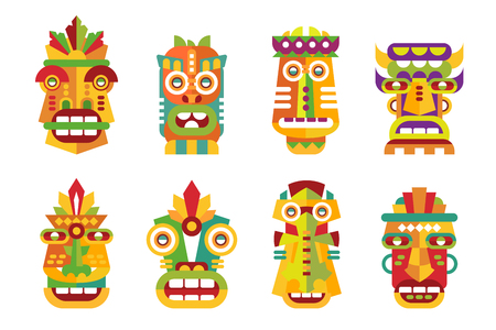 Ethnic mask set, tribal Indian or African colorful masks vector Illustrations isolated on a white background.