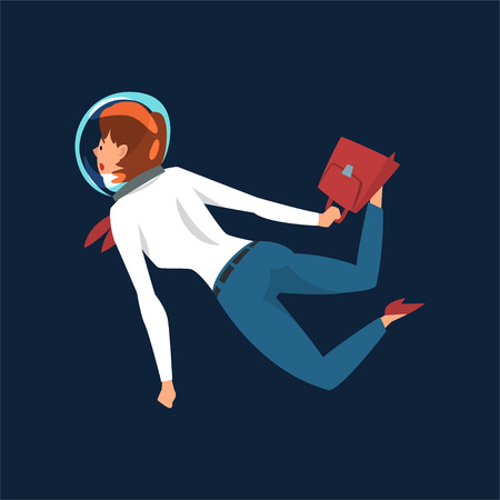 Ambitious Businesswoman in Astronaut Helmet Flying in Outer Space with Briefcase, Business Development Strategy, Leadership Vector Illustration Illustration