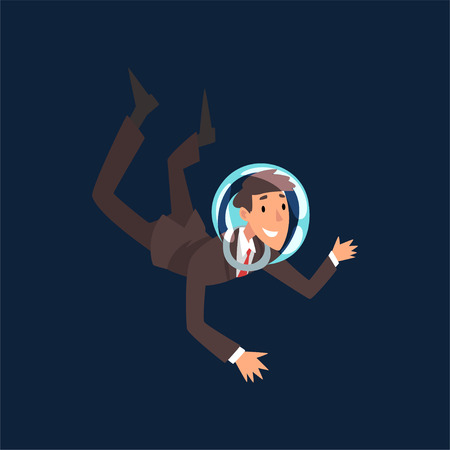 Smiling Businessman in Suit and Astronaut Helmet Flying in Dark Sky, Business Development Strategy, Leadership Vector Illustration