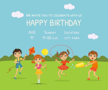 Biglietto d'invito di buon compleanno con bambini carini sullo sfondo della natura e posto per il tuo testo Vector Illustration Vettoriali