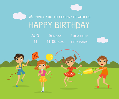 Happy Birthday Invitation Card with Cute Little Kids in Nature Background and Place for Your Text Vector Illustration