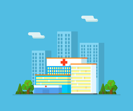 Urban Summer Landscape with Skyscrapers and Hospital Building Vector Illustration in Flat Style.