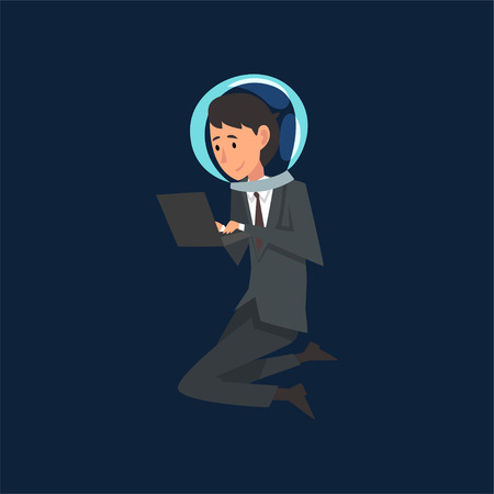 Businessman in Suit and Astronaut Helmet Flying in Outer Space or Internet Space with Laptop Computer, Business Development Strategy, Leadership Vector Illustration
