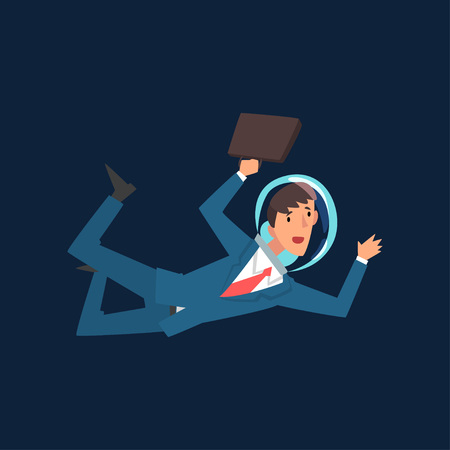 Businessman in Suit and Astronaut Helmet Flying in Outer Space, Business Development Strategy, Leadership Vector Illustration