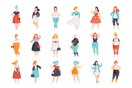 Beautiful plus size women in fashionable clothes set, curvy, overweigh girl pinup model vector Illustrations isolated on a white background.