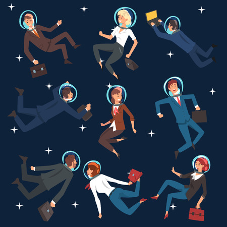 Successful Business People in Suits and Astronaut Helmets Flying in Outer Space Set, Business Development Strategy, Leadership Vector Illustration