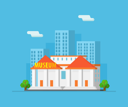 Urban Landscape with Skyscrapers and Museum Building Vector Illustration