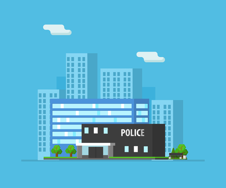 Urban Landscape with Skyscrapers and Police Building Vector Illustration