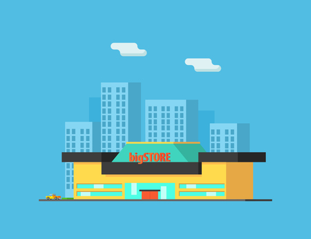 City Landscape with Skyscrapers and Store Building Vector Illustration in Flat Style.