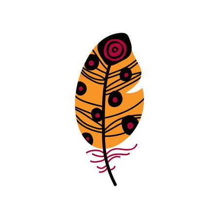 Colored Bright Orange Bird Feather Decoration Element Vector Illustration on White Background.