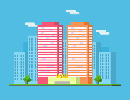 City Summer Landscape with Skyscrapers and Hotel Buildings Vector Illustration in Flat Style. 向量圖像