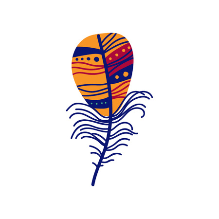 Colored Bird Feather Painted in Colorful Patterns, Decoration Element Vector Illustration on White Background.
