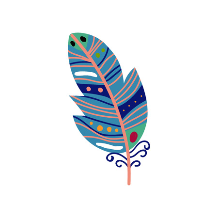Colored Bird Feather Painted in Colorful Patterns in Blue Colors, Decoration Element Vector Illustration on White Background.
